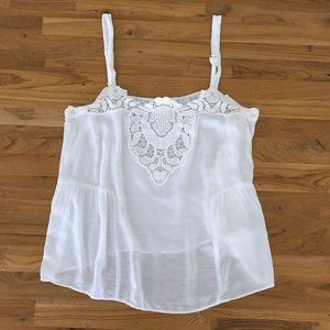 FLOREAT ANTHRO Women's White Lace Top Blouse M NWT